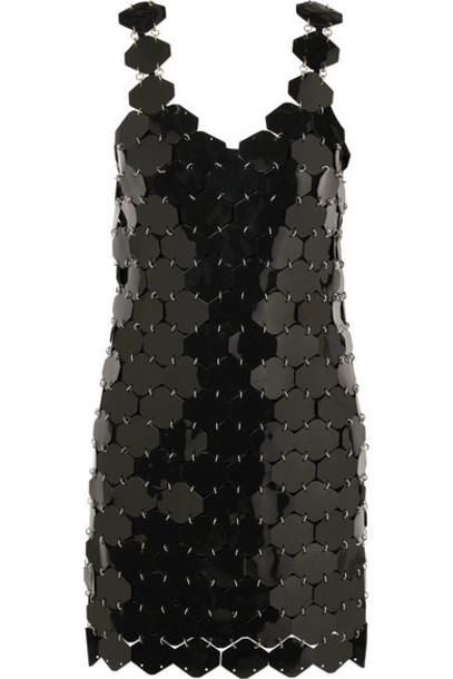 Paco Rabanne - Embellished Metallic Mini Dress - Black