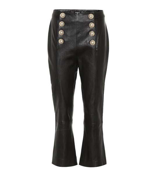 Balmain High-rise cropped leather pants in black