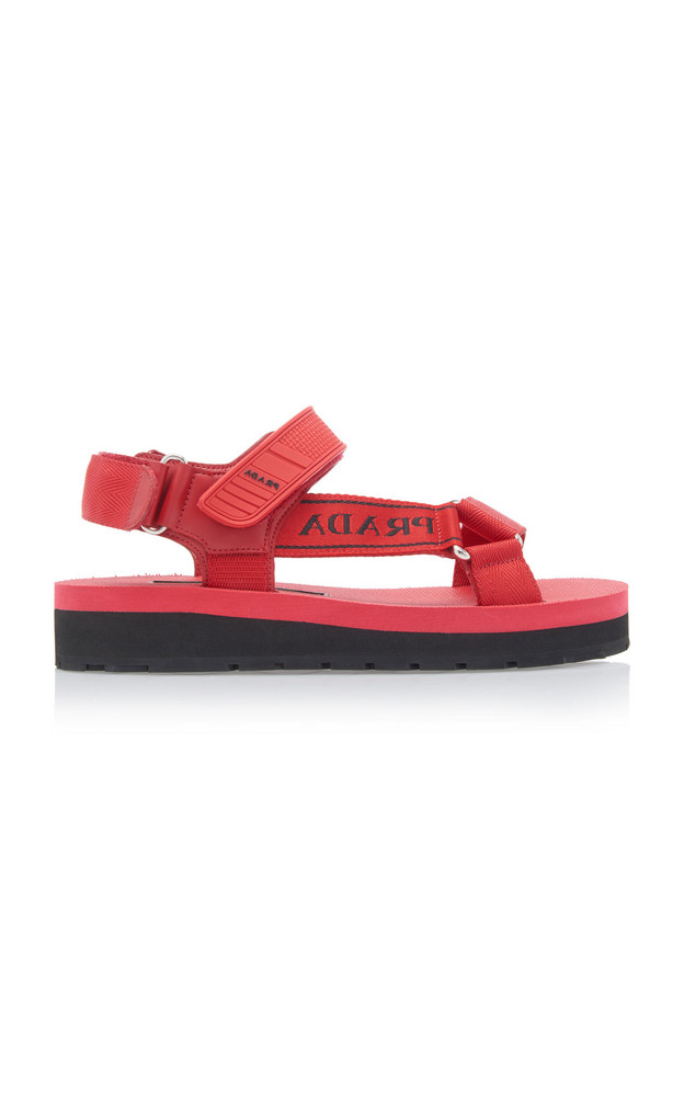 Prada Canvas-Jacquard And Rubber Sandals Size: 37 in red