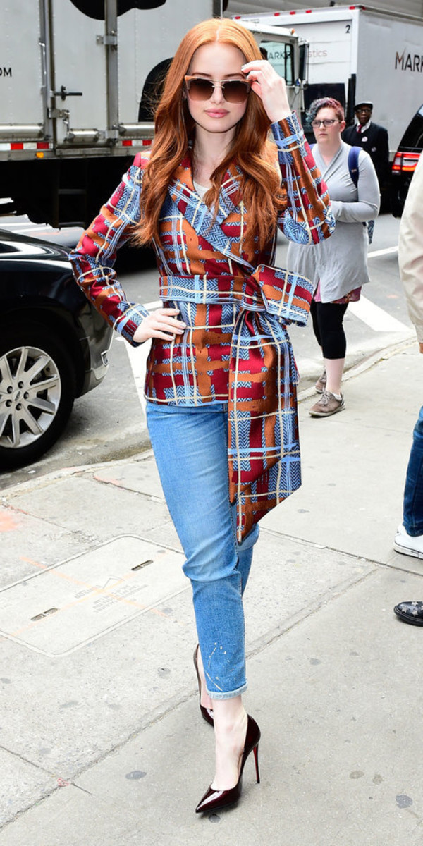 jacket pants red plaid madelaine petsch celebrity spring outfits pumps jeans denim