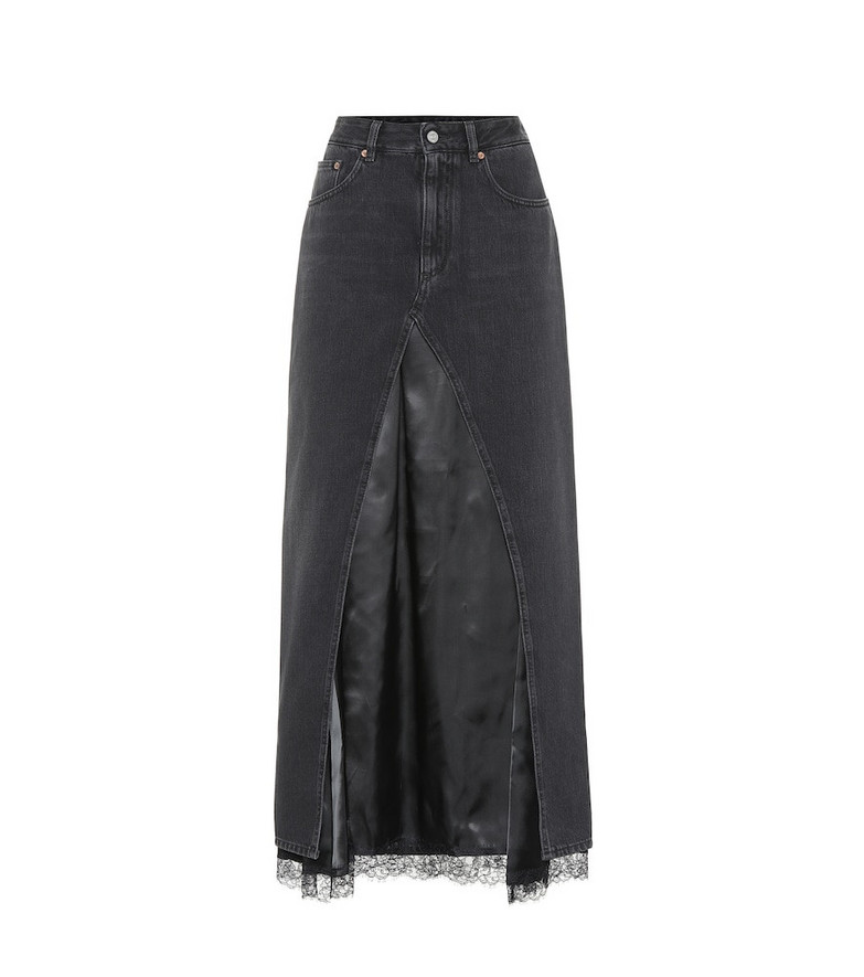 MM6 Maison Margiela Denim and satin midi skirt in black