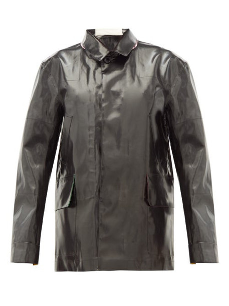 La Fetiche - Poison Ivy Rubberised Reversible Donkey Jacket - Womens - Black Multi