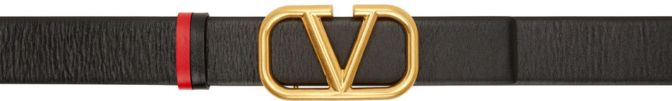 Valentino Garavani Black & Red Valentino Garavani VLogo Belt in nero