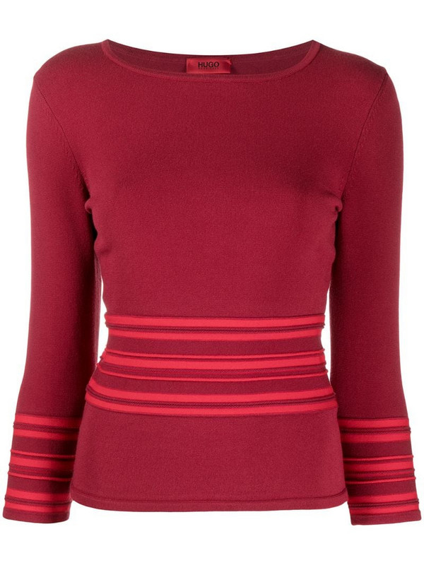 BOSS striped knitted top in red