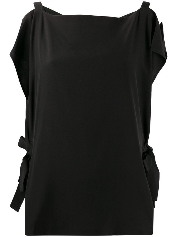 McQ Swallow silk cold shoulder blouse in black
