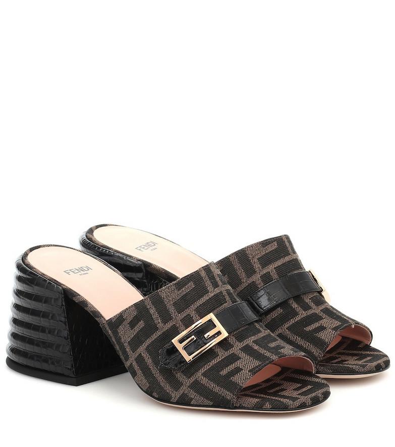 Fendi Promenade FF jacquard sandals in brown