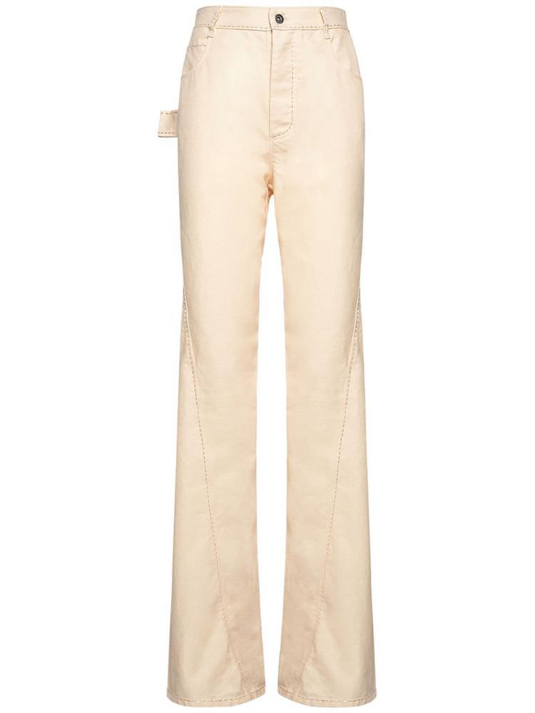 BOTTEGA VENETA Cotton Twill Straight Leg Pants in pink