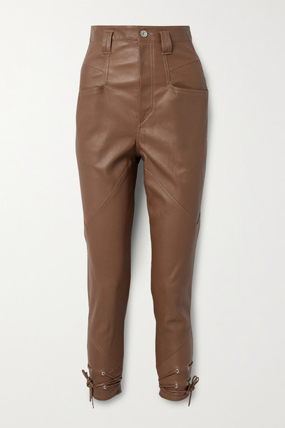 ISABEL MARANT - Badeloisa Lace-up Leather Tapered Pants - Brown