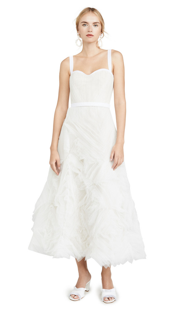 Marchesa Notte Sleeveless Textured Tulle Tea Length Gown in ivory