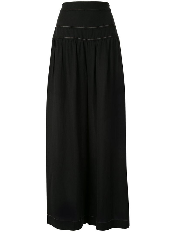 Ginger & Smart contrast-stitching wide-leg trousers in black
