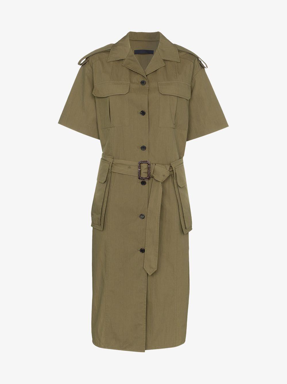Juun.J belted midi cotton blend shirt dress in khaki