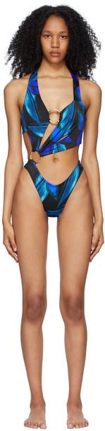 Louisa Ballou Black & Blue Sex Wax One-Piece Swimsuit