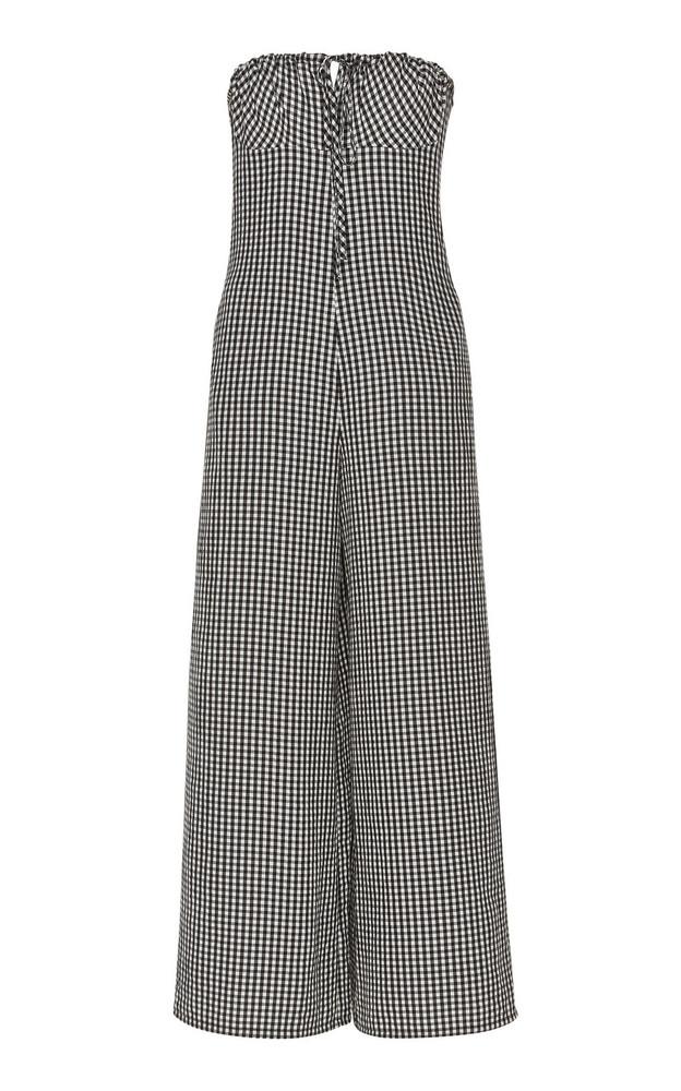 Solid & Striped Strapless Gingham Seersucker Jumpsuit in black / white