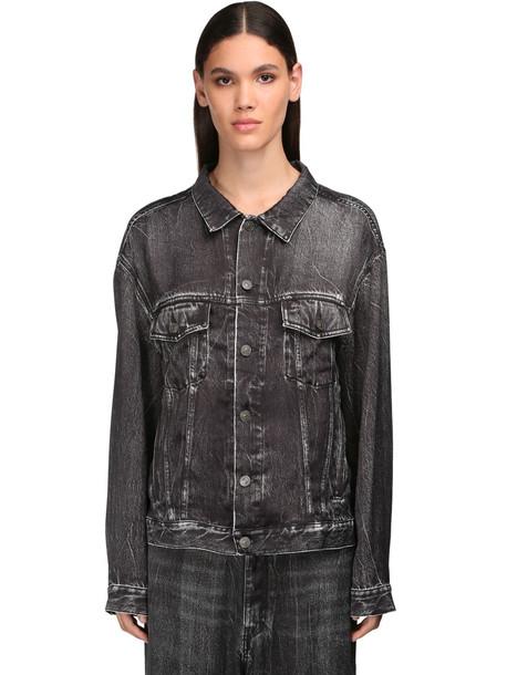 BALENCIAGA Denim Effect Printed Satin Shirt in grey