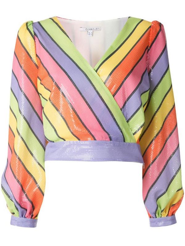 Olivia Rubin Kendall rainbow stripe blouse in purple