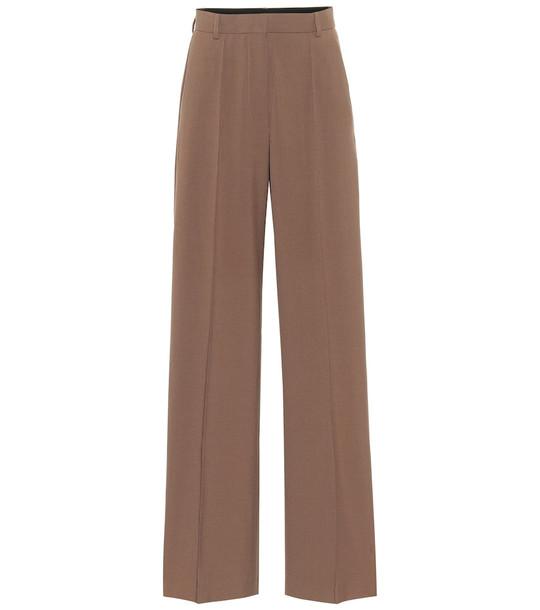 Nanushka Cleo high-rise cady pants in brown
