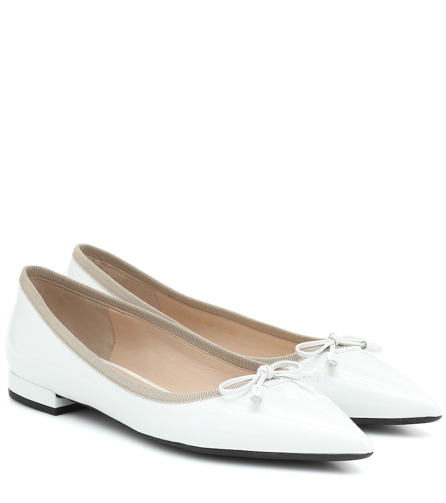 Prada Patent-leather flats in white