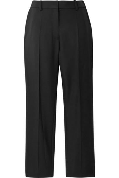 Racil - Aries Satin-trimmed Wool-crepe Tapered Pants - Black