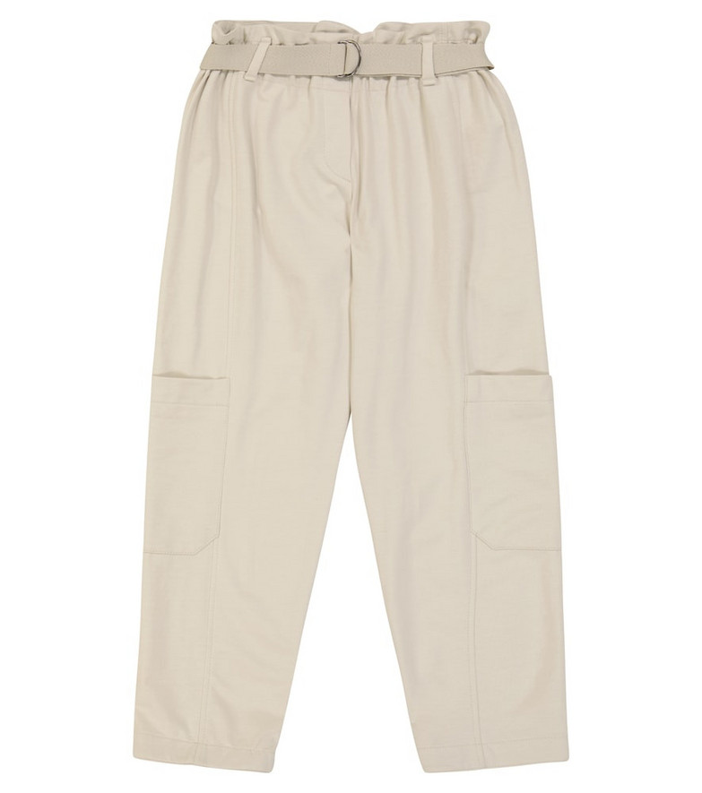 Brunello Cucinelli Kids Belted cotton paperbag sweatpants in white