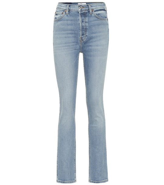 Re/Done Double Needle high-rise slim jeans in blue