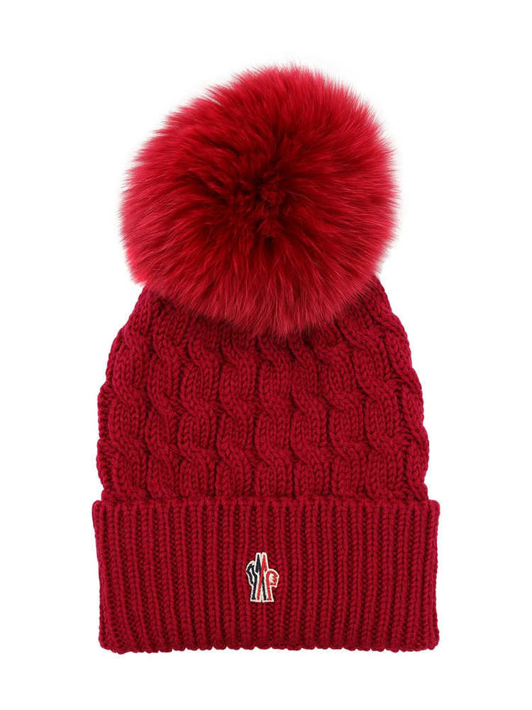 MONCLER GRENOBLE Wool Cable Knit Hat W/ Pom Pom in purple