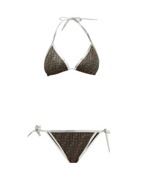 Fendi - Ff-logo Triangle Bikini - Womens - Brown Print