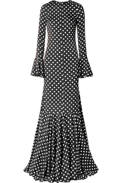 Caroline Constas - Allonia Fluted Polka-dot Silk-blend Satin Gown - Black