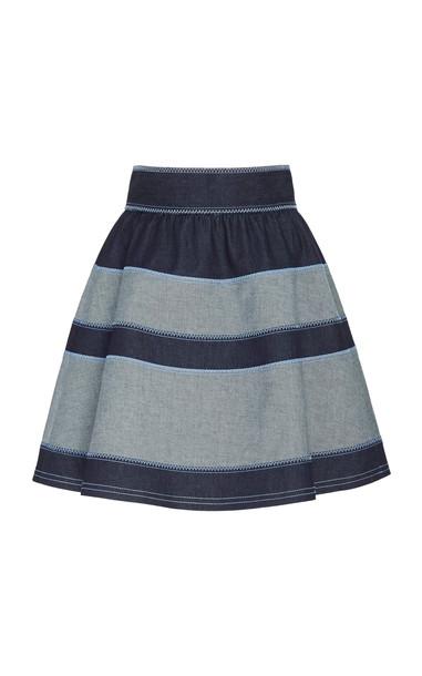 Carolina Herrera Striped Cotton-Stretch A-Line Skirt in blue