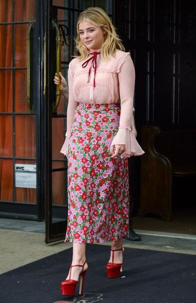 blouse skirt midi skirt platform shoes chloe grace moretz floral shoes