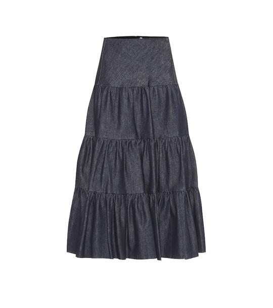 Chloé Tiered denim midi skirt in blue