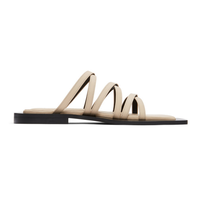 Flat Apartment Beige Wide Sole Strappy Sandals in ivory
