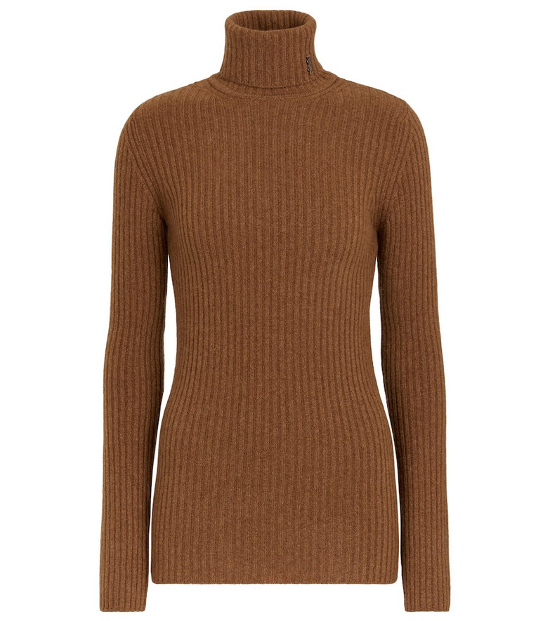 Saint Laurent Ribbed-knit wool and cashmere turtleneck sweater in brown