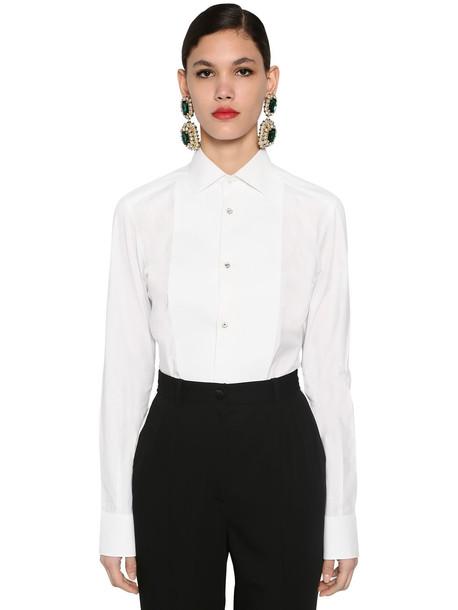 DOLCE & GABBANA Cotton Poplin Tuxedo Shirt in white
