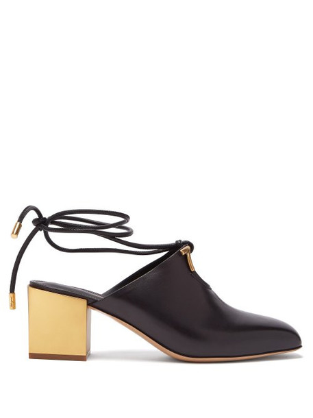 Salvatore Ferragamo - Laino Gold Heel Leather Mules - Womens - Black