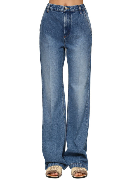 LOEWE High Waist Flared Cotton Denim Jeans
