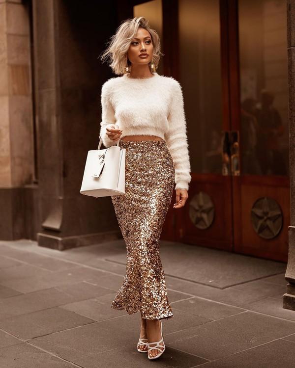 skirt sequin skirt midi skirt white sandals white sweater cropped sweater white bag