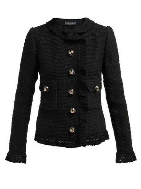 Dolce & Gabbana - Wool Blend Bouclé Jacket - Womens - Black