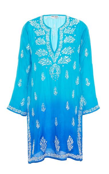 Juliet Dunn Ombre Embroidered Silk Kaftan in blue