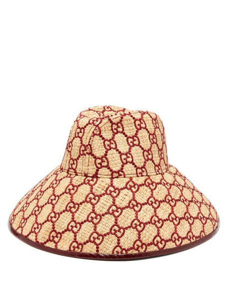 Gucci - Gg Embroidered Raffia Hat - Womens - Burgundy
