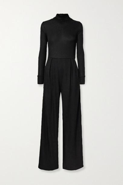 TWENTY Montréal - Kent Metallic Striped Stretch-crepe Turtleneck Jumpsuit - Black