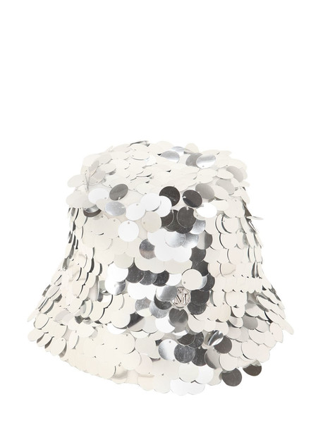 MAISON MICHEL Souna Sequined Hat in silver