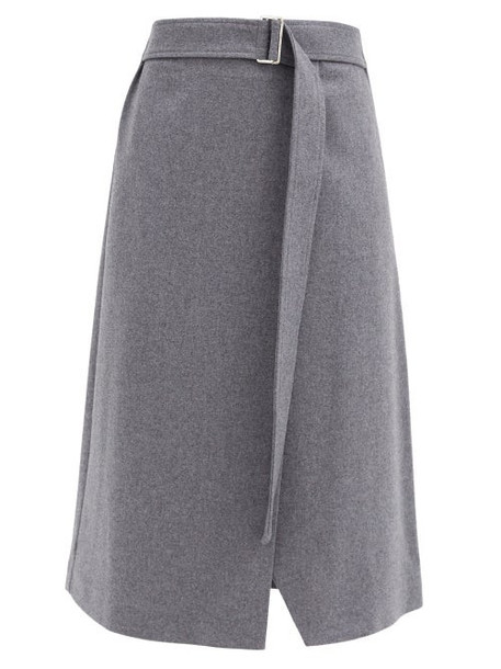 Joseph - Salin Wool-blend Midi Wrap Skirt - Womens - Grey