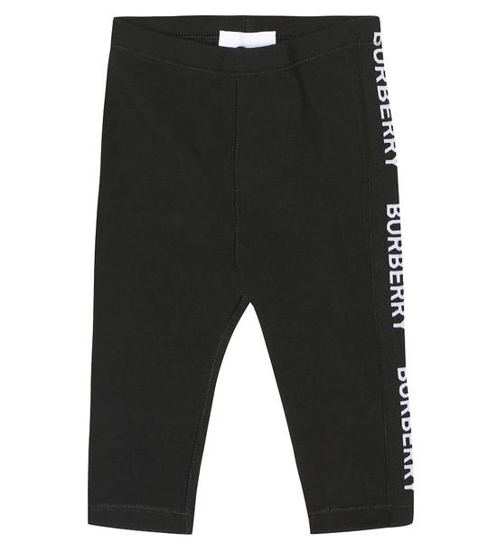 Burberry Kids Baby logo stretch cotton leggings in black