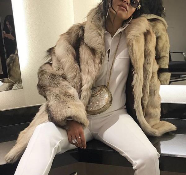 coat grey fur fur coat fur jacket