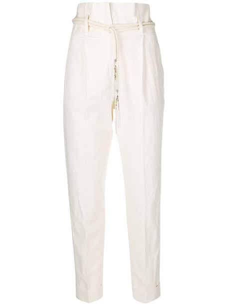Peserico high-waisted turn-up trousers in neutrals