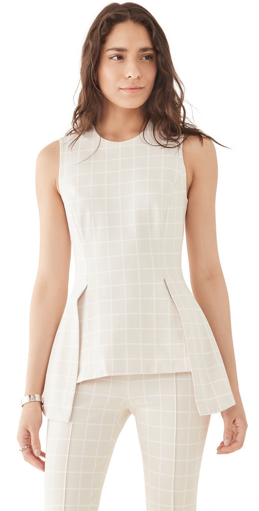 Rosetta Getty Fold Panel Fitted Top in white / beige