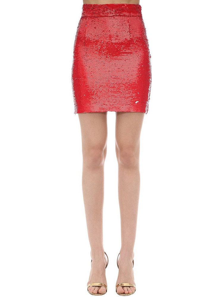 AMEN Sequined Mini Skirt in red