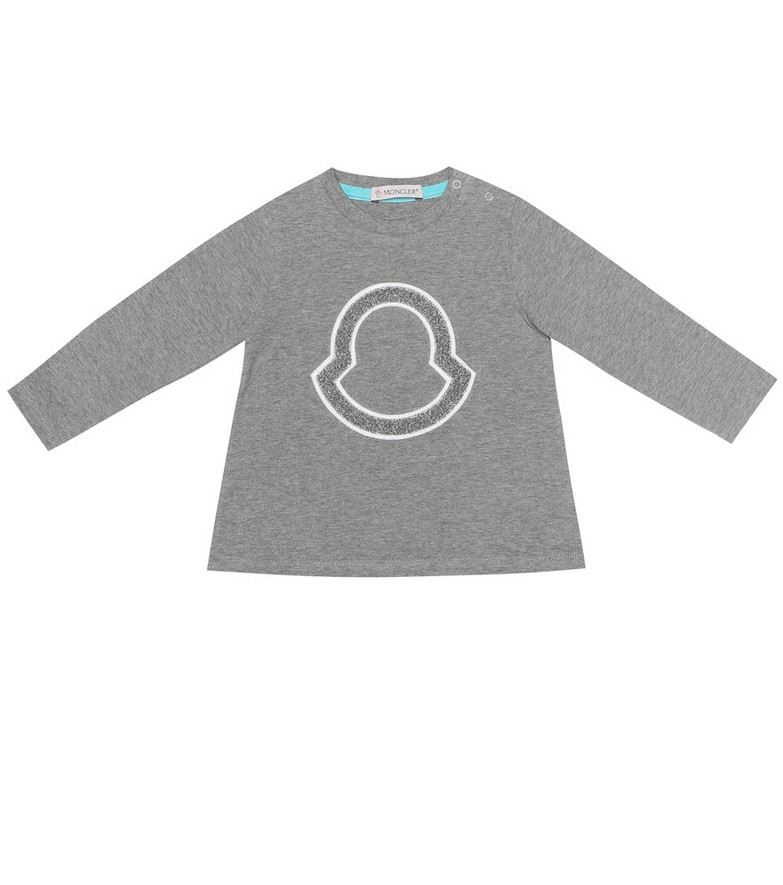 Moncler Enfant Baby stretch-cotton T-shirt in grey