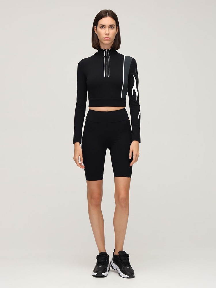NO KA'OI Outline Cutout Bike Shorts in black