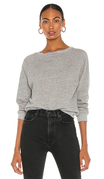 NILI LOTAN Classic Crew Neck Sweatshirt in Grey